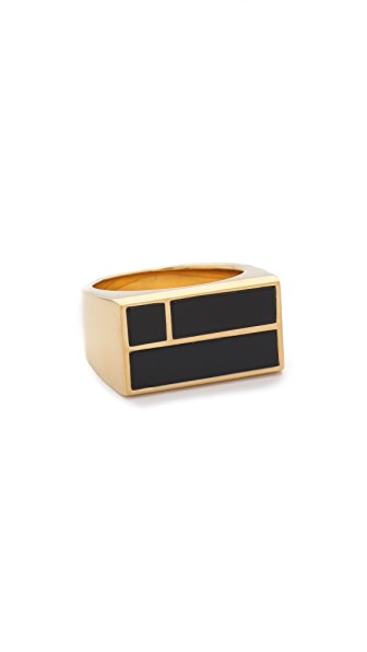 Aurelie Bidermann Bianca Square Ring - Onyx at Shopbop