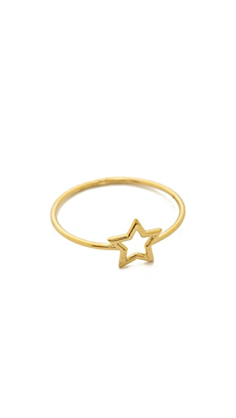 Aurelie Bidermann Fine Jewelry Thin Gold Star Ring - Gold