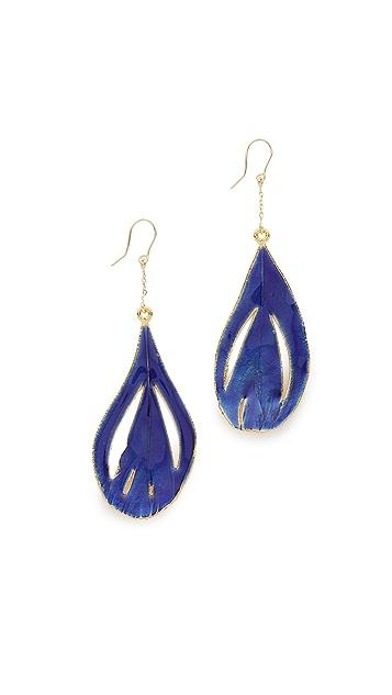 Aurelie Bidermann Fine Jewelry 18k Gold Genuine Feather Earrings