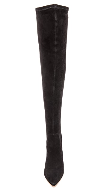 Alexandre Birman Suede Boots with Python Sole