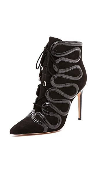 Alexandre Birman Lace Up Booties with Snakeskin Trim