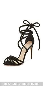Black Tie Up Suede Sandals                Alexandre Birman
