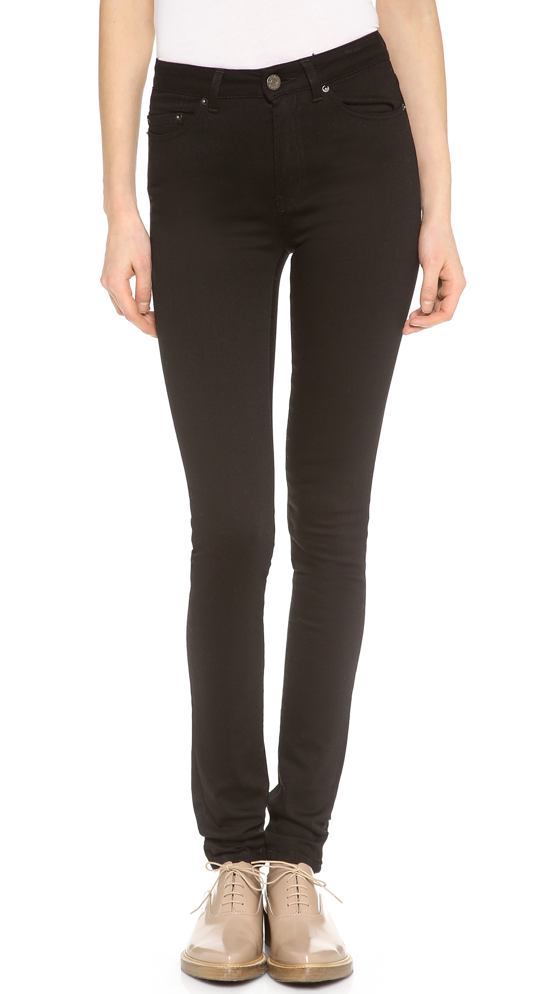 Acne Studios Pin High Rise Skinny Jeans - Black