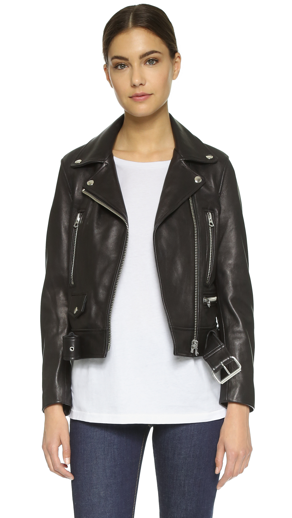 Acne Studios Mock Leather Moto Jacket - Black at Shopbop