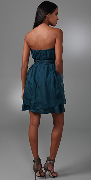 ADAM Strapless Cascade Ruffle Dress