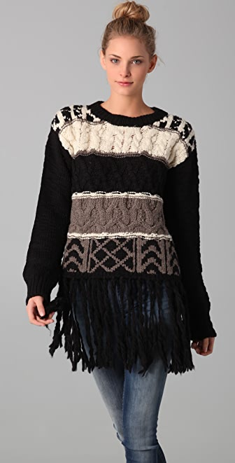 ADAM Intarsia Sweater with Fringe