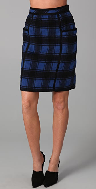 ADAM Plaid Pencil Skirt