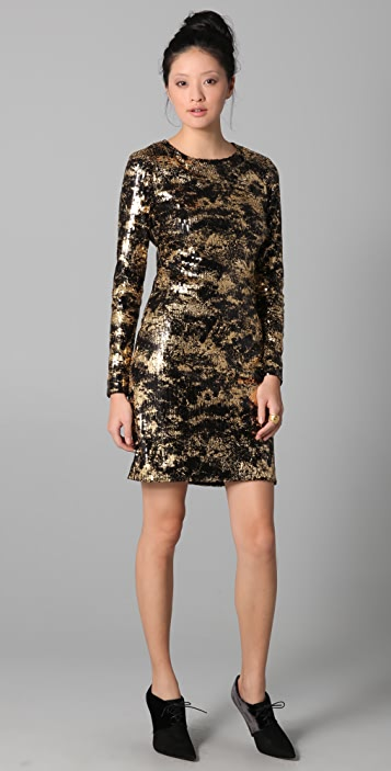 ADAM Long Sleeve Fitted Sequin Dress