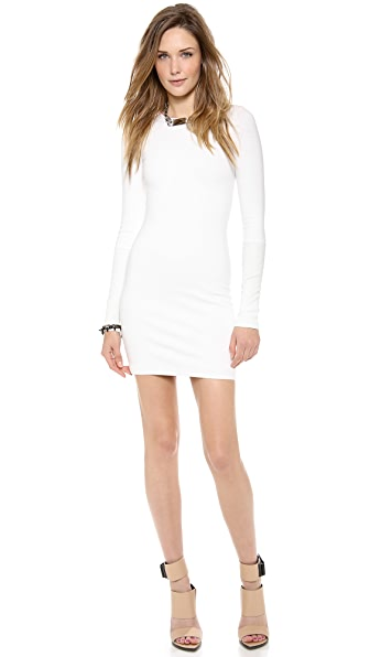 AD Leather Detailed Ponte Dress