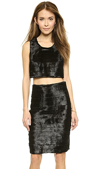 Ad Crop Shield Haircalf Top - Black/Black at Shopbop