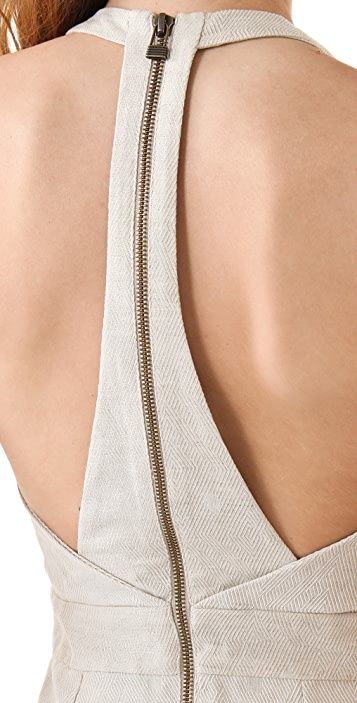 ADDISON Contrast Panel Back Detail Dress