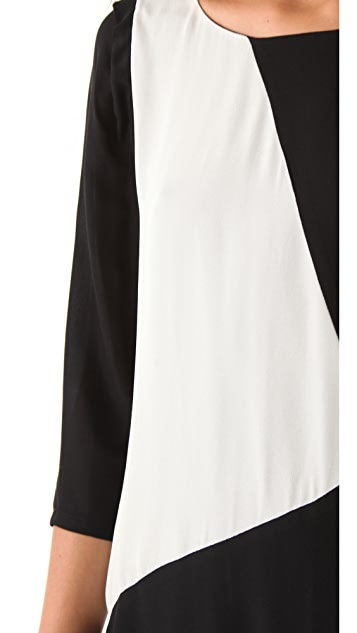ADDISON Geometric Colorblock Dress
