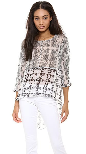 ADDISON Kirby Mixed Media Batwing Top