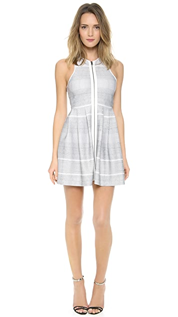 ADDISON Dara Fit and Flare Zipper Detail Dress