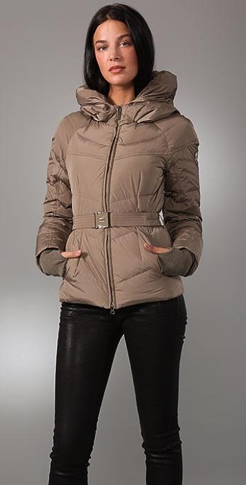 Add Down Gloss Hooded Puffer Jacket