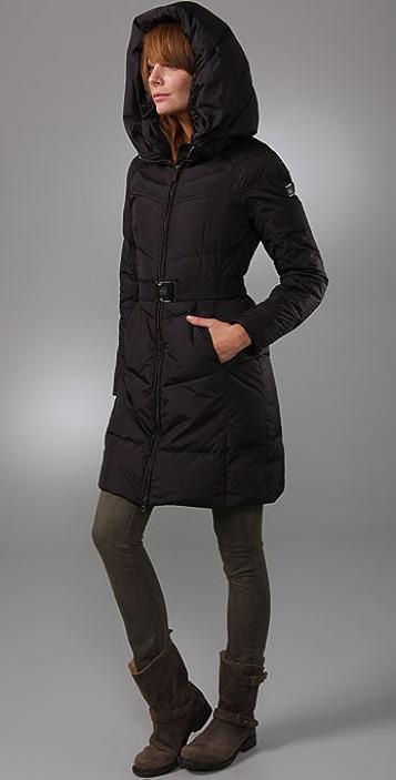 Add Down Gloss Hooded Puffer Coat
