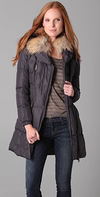 Add Down Nylon Gloss Puffer Coat with Fur Trim | SHOPBOP