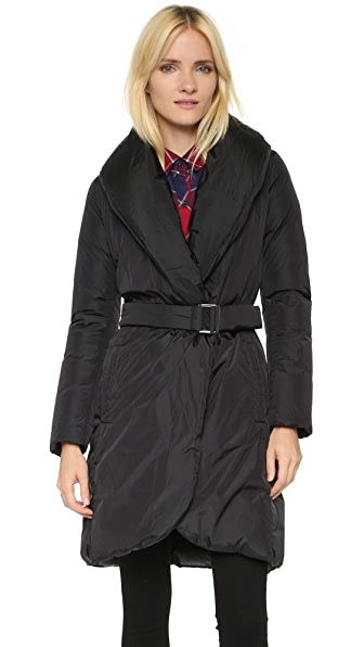 Add Down Down Wrap Coat - Black