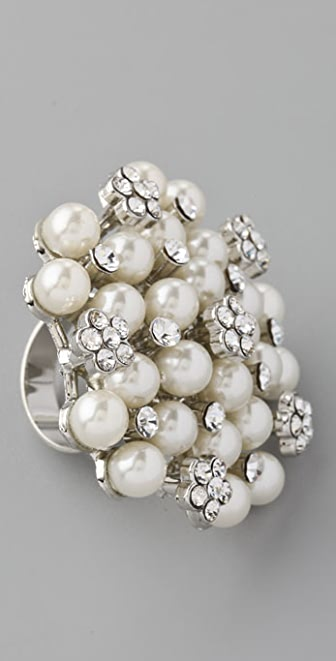 Adia Kibur Crystal Pearl Dot Ring