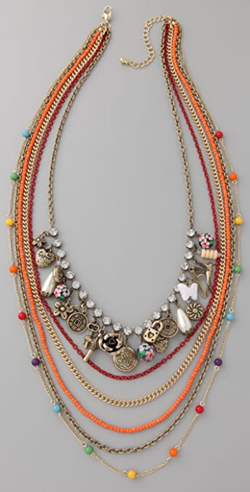 Adia Kibur Long Multi-Strand Chain Necklace with Charms