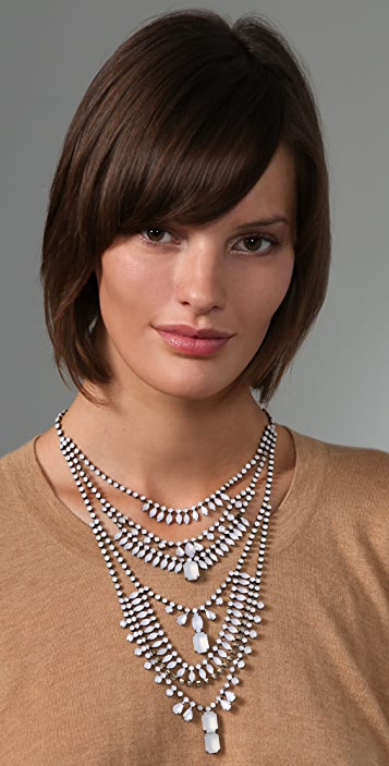 Adia Kibur White Stone Tiered Necklace
