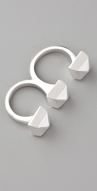 Adia Kibur 3 Studs Double Finger Ring