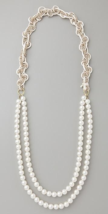 Adia Kibur Pearl Braided Chain Necklace