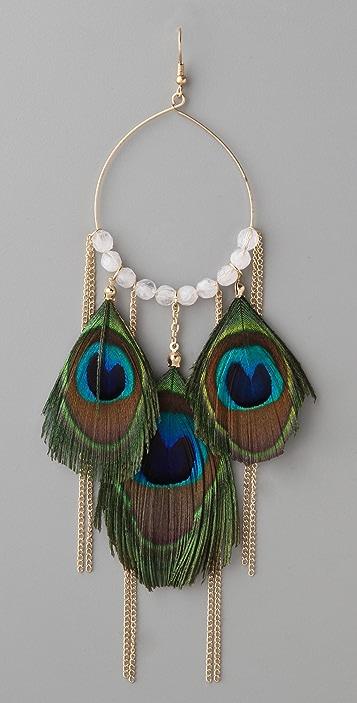 Adia Kibur Peacock Feather & Chain Earrings