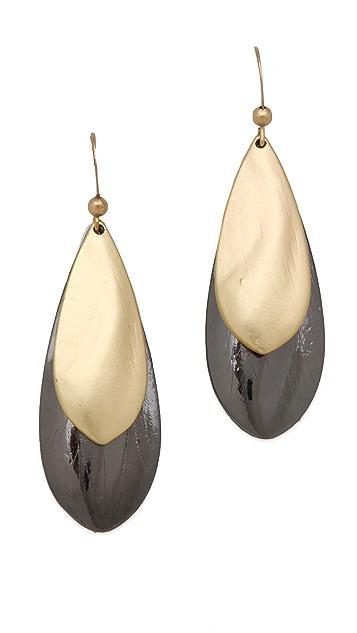 Adia Kibur Hematite & Gold Teardrop Earrings