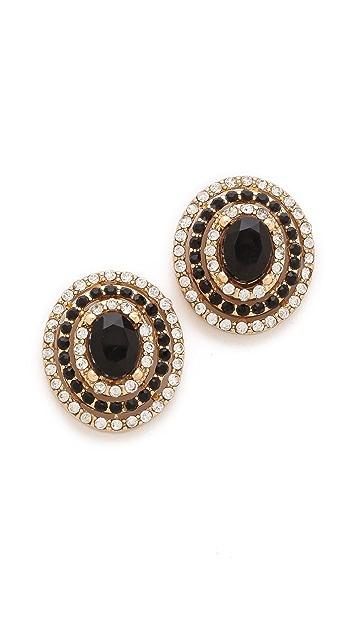 Adia Kibur Crystal Oval Stud Earrings