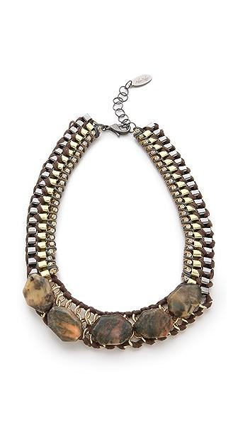 Adia Kibur Chiffon Necklace with Stones