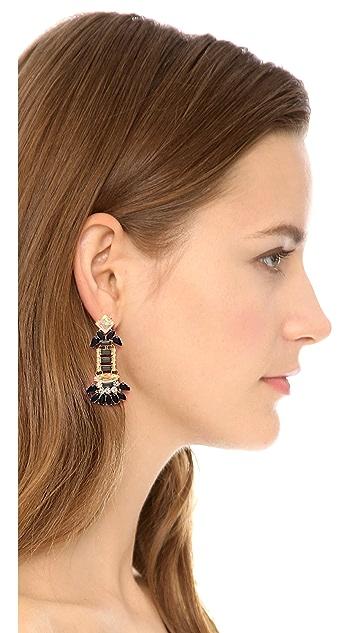 Adia Kibur Crystal Asymmetrical Earrings