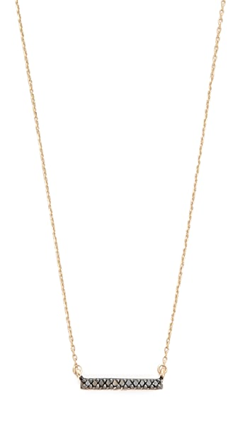 Adina Reyter 14k Gold Black Diamond Pave Bar Necklace