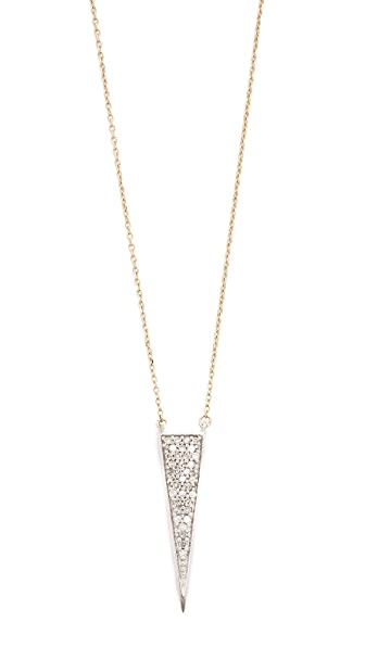 Adina Reyter 14k Gold Long Solid Pave Triangle Necklace - Gold/Clear