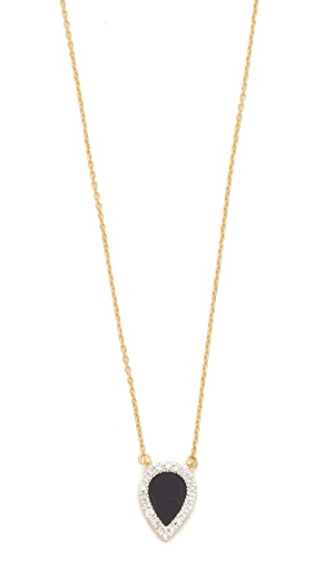 Adina Reyter 14k Gold Small Onyx + Diamond Teardrop Pendant Necklace