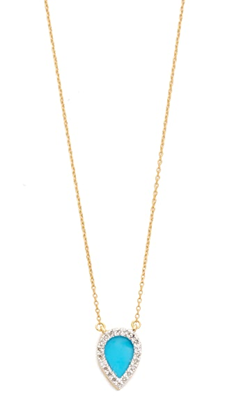 Adina Reyter 14k Gold Small Turquoise + Diamond Teardrop Pendant Necklace - Gold/Turquoise