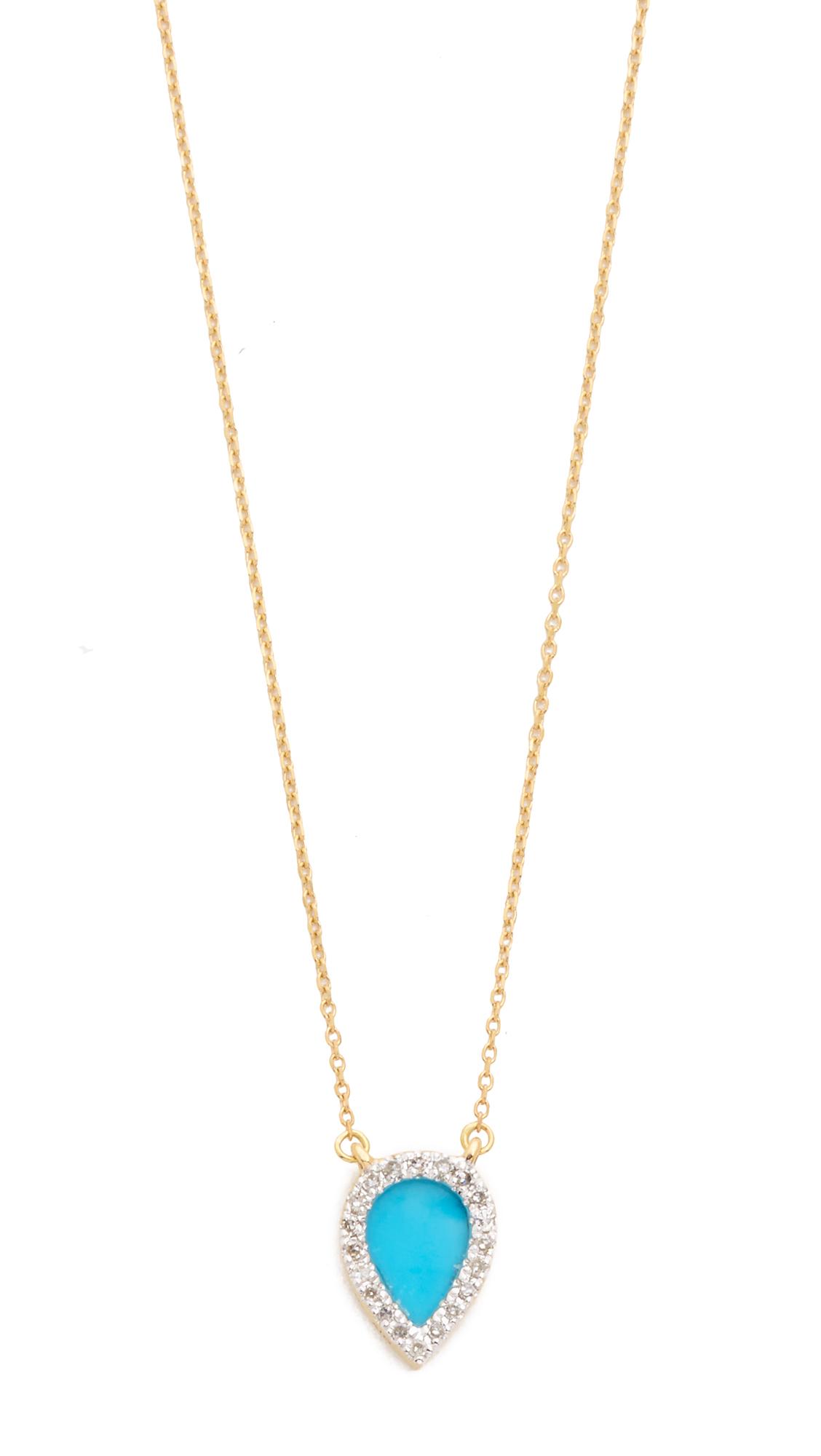 Adina Reyter 14k Gold Small Turquoise + Diamond Teardrop Pendant Necklace - Gold/Turquoise