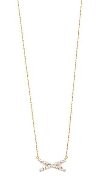 Adina Reyter Pavé Stretched X Necklace