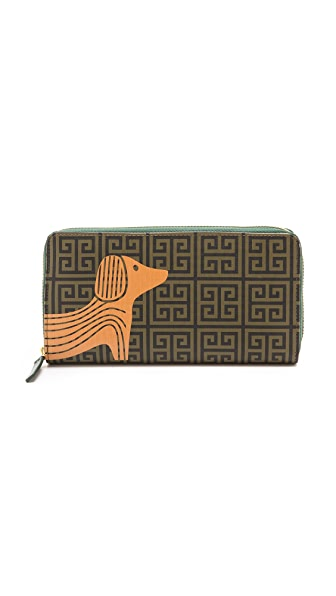 Jonathan Adler Printed Dog Continental Zip Wallet