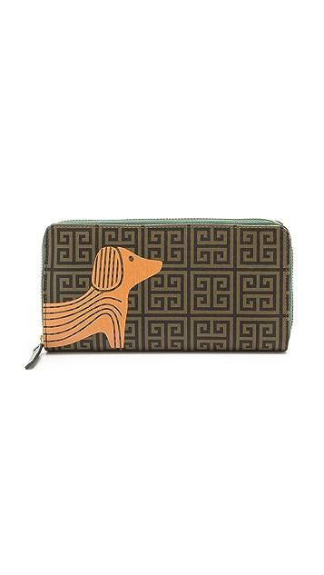 Jonathan Adler Printed Dog Continental Zip Wallet