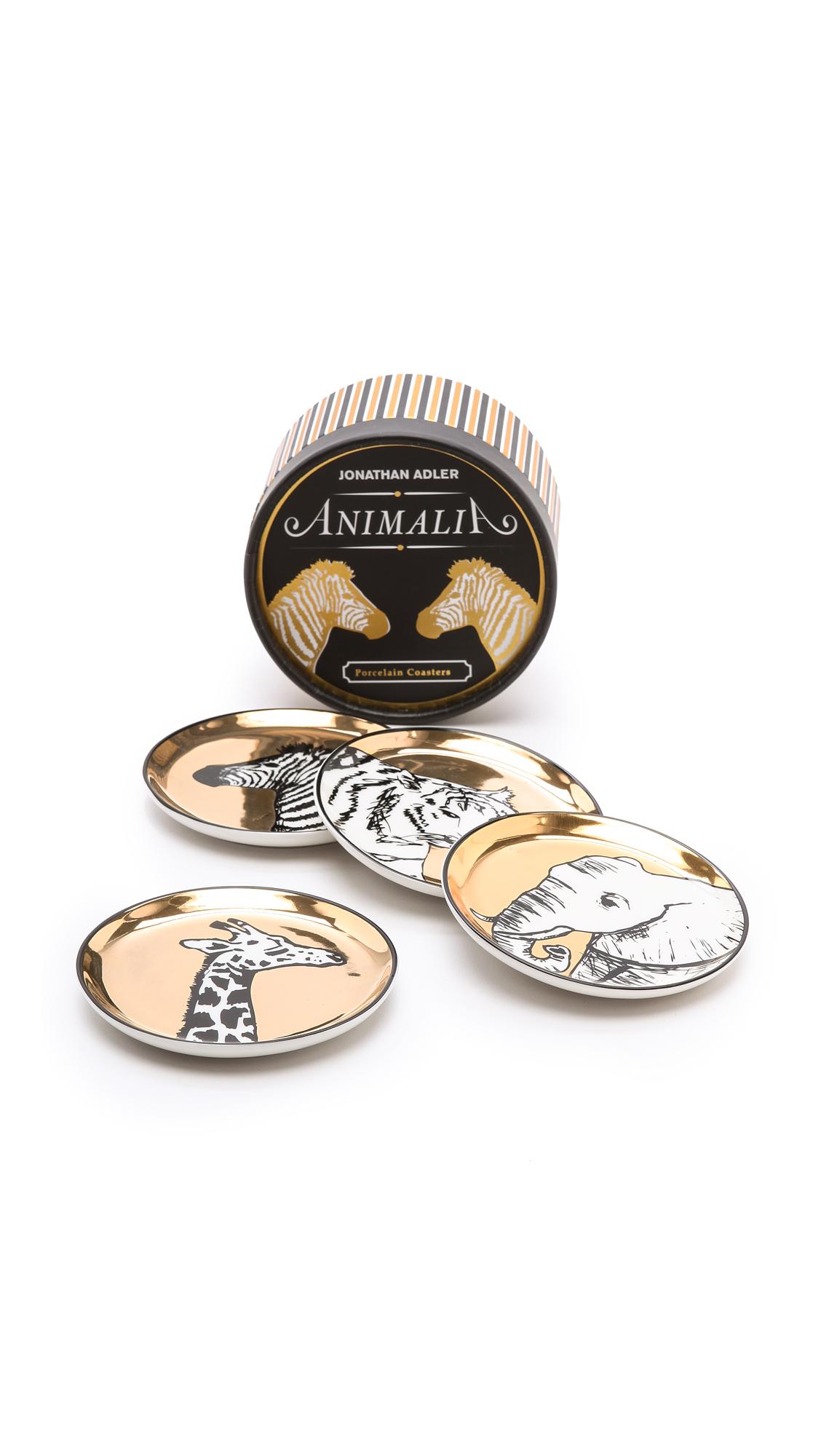 Jonathan Adler Animalia Coaster Set - Gold Multi
