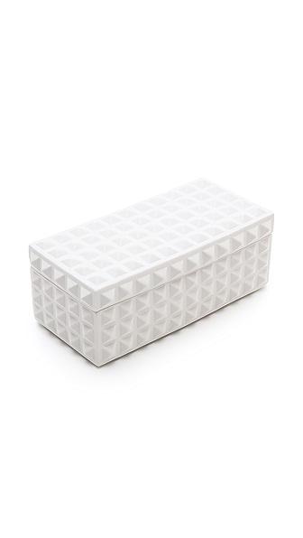 Jonathan Adler Charade Square Stud Box - White