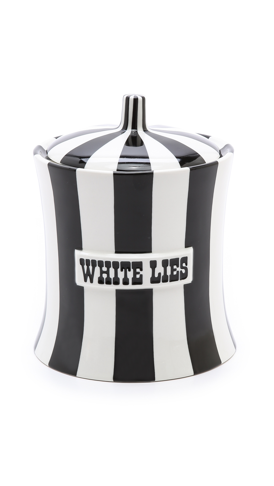 Jonathan Adler White Lies Canister - Black/White