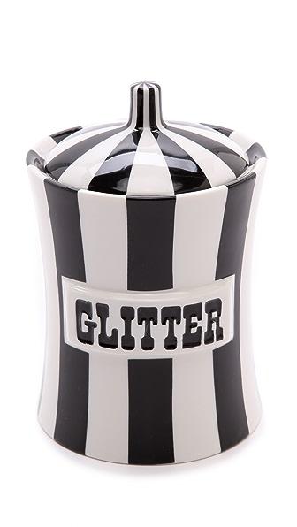 Jonathan Adler Glitter Canister - Black/White