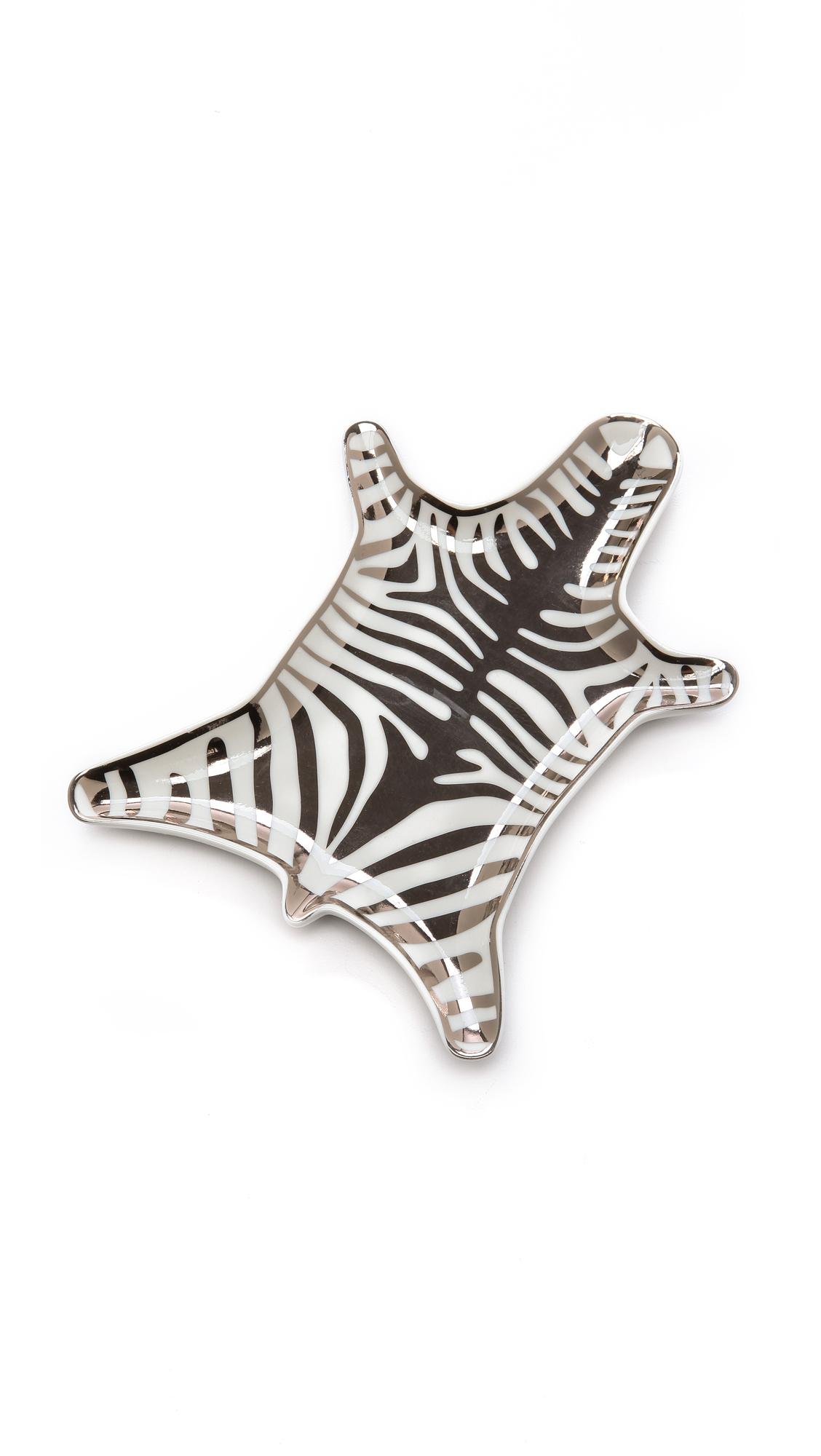 Jonathan Adler Metallic Zebra Dish - Silver