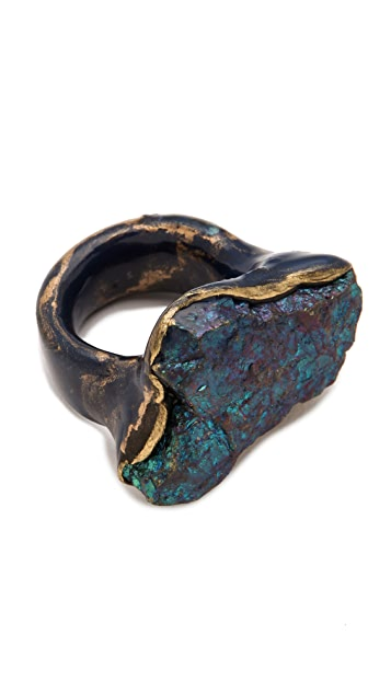 Adina Mills Design Small Peacock Pyrite Ring