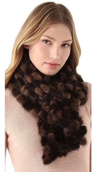 Adrienne Landau Mink Fur Crochet Scarf