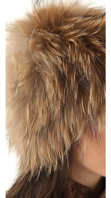 Adrienne Landau Raccoon Fur Knit Hat