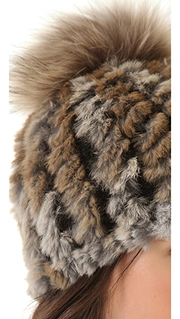 Adrienne Landau Rabbit Fur Pom Pom Hat