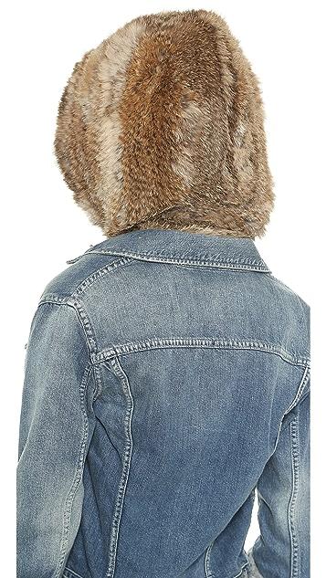 Adrienne Landau Knit Fur Hooded Scarf